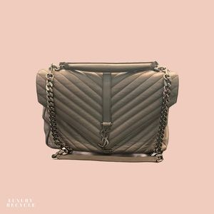 YSL COLLEGE LARGE CHEVRON GREY